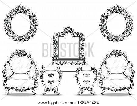 Rich Baroque Rococo armchair and dressing table set. French Luxury carved ornaments furniture. Vector Victorian exquisite Style decorated