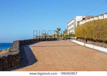 Promenade In Marina Rubicon In Playa Blanca, Lanzarote, Canary Island, Spain