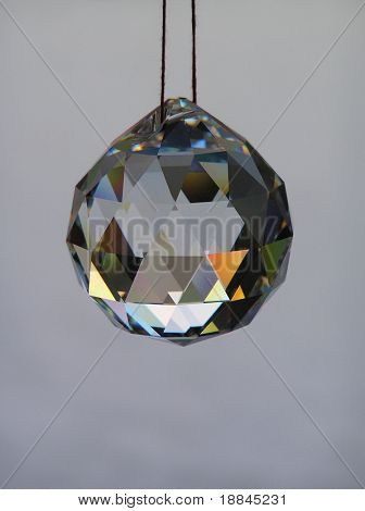 photograph of a chrystal ball hanging on a string