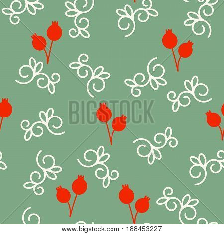 Vector seamless pattern with pomegranates and swirls. Floral pattern for cushion, pillow, bandanna, silk kerchief or shawl fabric print. Texture for clothes, bedclothes