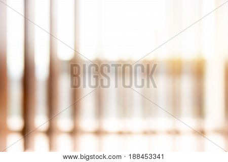 Sunlight shining through vertical wood slats - blur abstract background