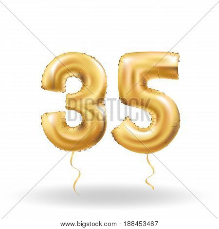 Golden number 35 thirty five metallic balloon. Party decoration golden balloons.