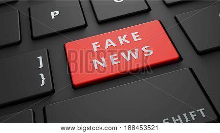 fake news red keyboard enter button 3d render