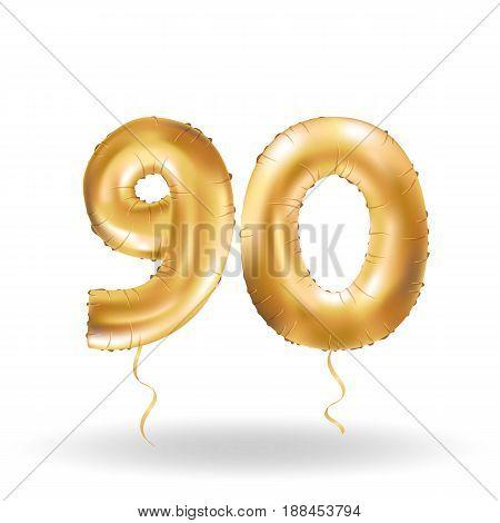Golden number ninety metallic balloon. Party decoration golden balloons.