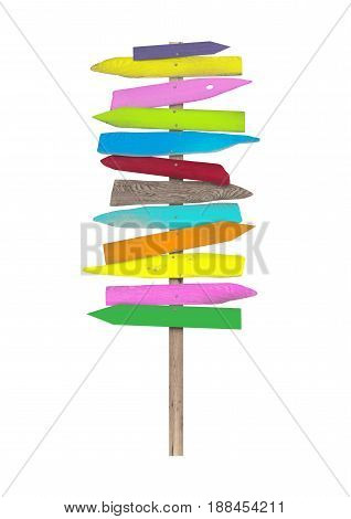 bright colorful blank wooden directional beach signs on pole isolated on white background