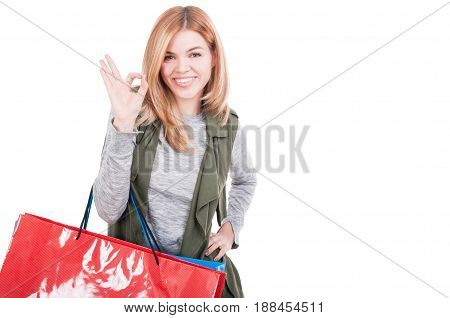Smiling Attractive Woman Holding Shopping Bags