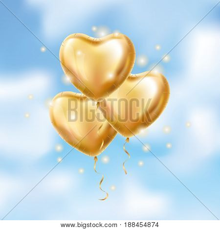 3 three Heart Gold balloon on blue background. party balloons event design. Balloons isolated in the air. Party decorations wedding, birthday, celebration, love, valentines. Shine transparent balloon