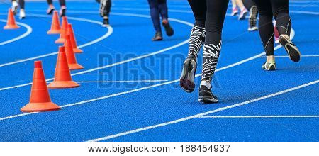 a running track at the stadium before the competition.