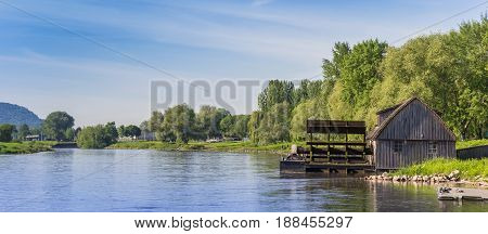 Panorama of the Weser river near Minden Germany