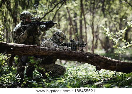 Two snipers in camouflage among trees at forest