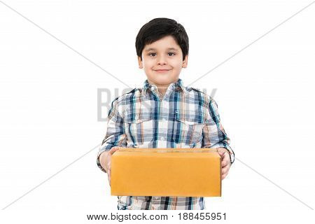 Cute boy holding box on white background - delivery concept