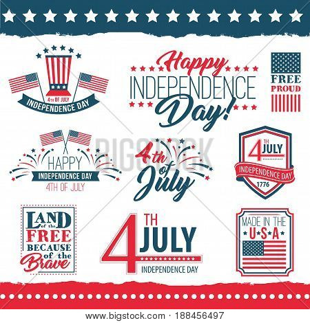 Independence Day of the United States poster set, Fourth of July federal holiday, typical festivity cards with star border. Vector flat style illustration on white background