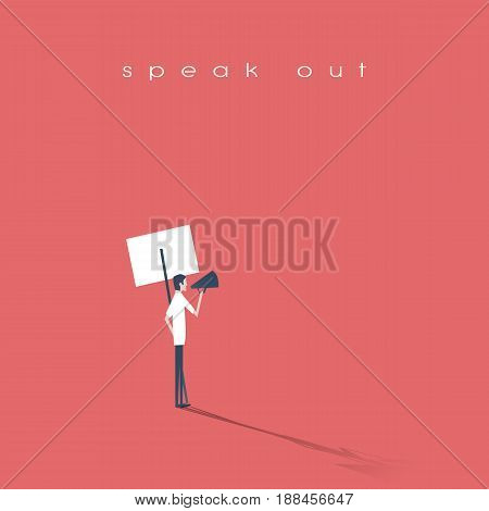 Protester speaking through megaphone or bullhorn and holding a placard, banner vector icon. Symbol of activism, demonstration. Eps10 vector illustration.