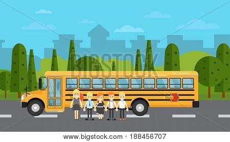 Group of young school children near yellow school bus on highway. Service auto vehicle, city public transport, social assistance. Street road traffic vector illustration, countryside background