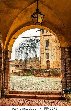 View Of Medieval Rocca Sanvitale Castle Through The Arch