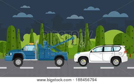 Tow truck evacuating broken car on countryside highway. Vector illustration for automobile repair service, roadside assistance, car help banner. Road accident or car trouble concept in flat design
