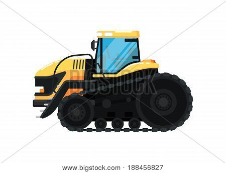 Crawler agriculture tractor isolated vector illustration. Rural industrial farm equipment machinery, comercial transport, agricultural vehicle in flat design