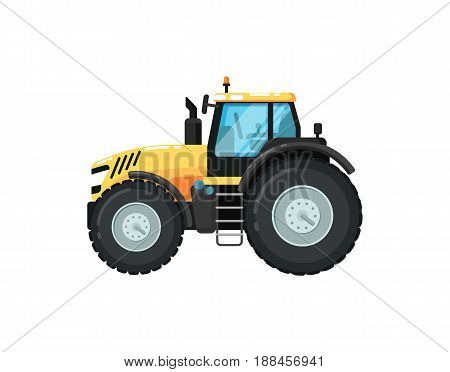 Modern agriculture tractor isolated vector illustration. Rural industrial farm equipment machinery, comercial transport, agricultural vehicle in flat design