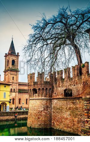 Fontanellato And Medieval Rocca Sanvitale Castle, Emilia-romagna, Italy