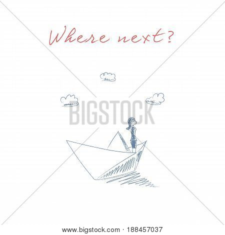 Business woman on a paper boat sketch hand drawn vector symbol. Business concept of adventure, freedom, opportunity and challenge. Eps10 vector illustration.