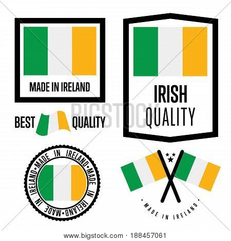 Ireland quality isolated label set for goods. Exporting stamp with irish flag, nation manufacturer certificate element, country product vector emblem. Made in Ireland badge collection.