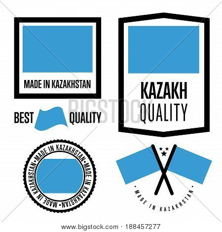 Kazakhstan quality isolated label set for goods. Exporting stamp with kazakh flag, nation manufacturer certificate element, country product vector emblem. Made in Kazakhstan badge collection.