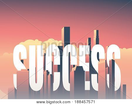Business success vector concept with corporate urban skyline, cityscape background. Eps10 vector illustration.