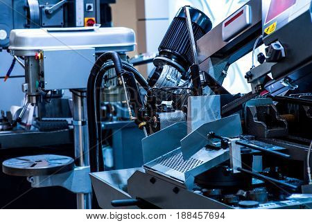 Fabric industry machinery production line concept blue tones