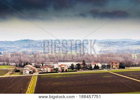 Rural landscape in Emilia-Romagna region Italy. Nature.