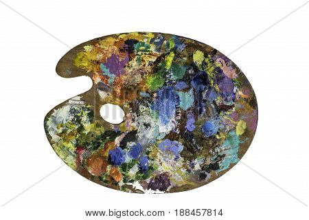 Artist palette with various colors isolated over white background. With Clipping Path