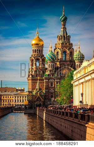 Church Of The Savior On Spilled Blood At Sunset In St. Petersburg
