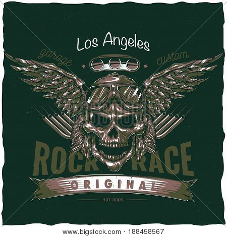 Vintage hot rod t-shirt label design with illustration of driver skull with glasses and wings. Hand drawn illustration.