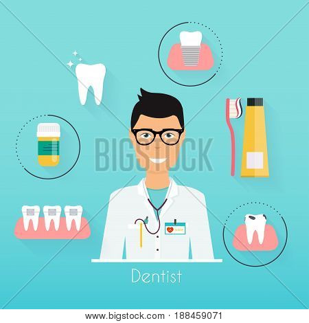 Dentist with dental care symbols. Teeth dental care mouth health set with inspection dentist treatment.