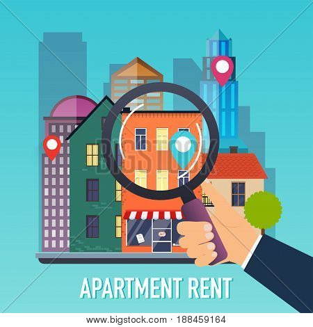 Hand holding a magnifying glass for search apartment. Offer of purchase house rental of Real Estate. Flat design modern vector illustration concept.