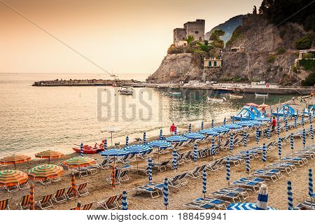 Sand beach at sunset in Monterosso al Mare Cinque Terre Italy.