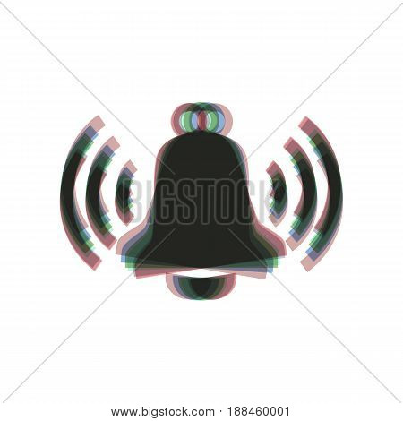 Ringing bell icon. Vector. Colorful icon shaked with vertical axis at white background. Isolated.