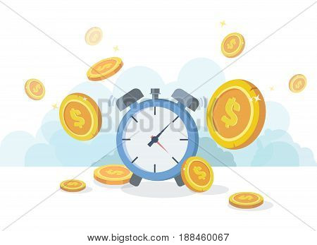 Time is money concept. Financial investments, revenue increase, budget management, savings account.Flat vector