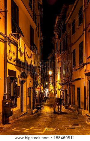 Old Narrow Street In The Night