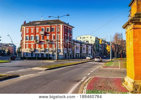 Roads in Parma Emilia-Romagna Italy. Old architecture.
