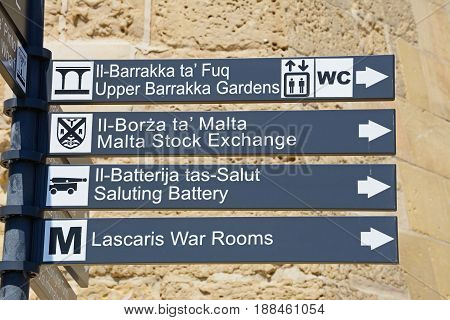 Places of interest sign in Castille Square Valletta Malta Europe.