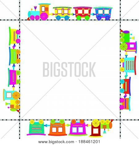 Frame with colored cartoon trains on white background