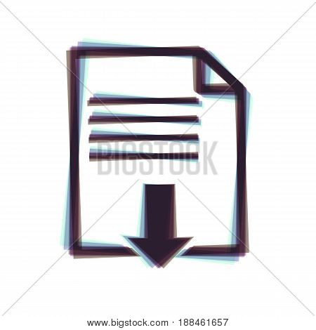 File download sign. Vector. Colorful icon shaked with vertical axis at white background. Isolated.