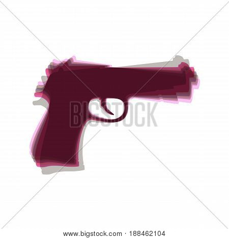 Gun sign illustration. Vector. Colorful icon shaked with vertical axis at white background. Isolated.