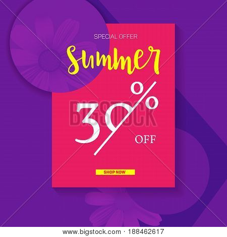 Summer selling ad banner, vintage text design. Summer discount of thirty percent. Holiday discounts, sale background on a color graphic backdrop. Template for shopping, advertising, banner, billboard.