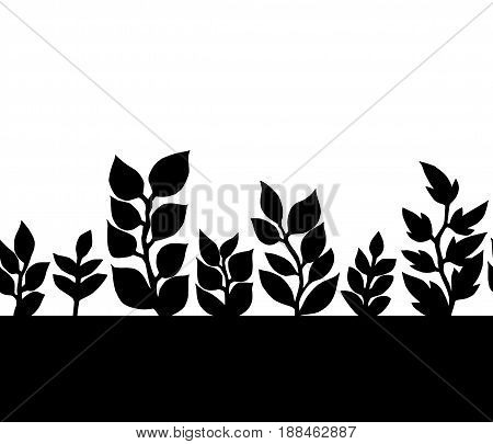 Black and white leaves silhoettes seamless border pattern, vector background