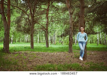 Casual Woman In The Park
