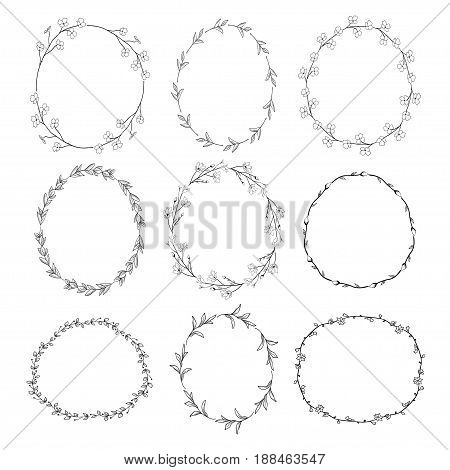 Set of 9 Black Doodle Hand Drawn Decorative Outlined Wreaths with Branches, Herbs, Plants, Leaves and Flowers, Florals. Vector Illustration. Frames, Circles