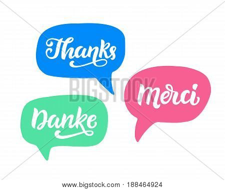 Thank you phrase, hand written lettering in german, english and french. Vector modern calligraphy elements for typography design, greeting cards, social media.