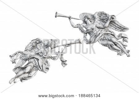 Sculpture of angels from the facade of the Admiralty (built in 1811) in St. Petersburg Russia isolated on white background