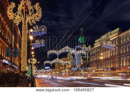 SAINT PETERSBURG, RUSSIA - JANUARY 1, 2017: Nevsky Prospect at night Christmas illumination. It is the main street in St. Petersburg